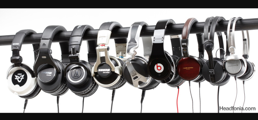 Closed Cans Shootout: M-50, ESW-9, T50P, HD25-1, Beats Studio, SRH-840, SRH-750DJ, K181DJ, and DJ1Pro.